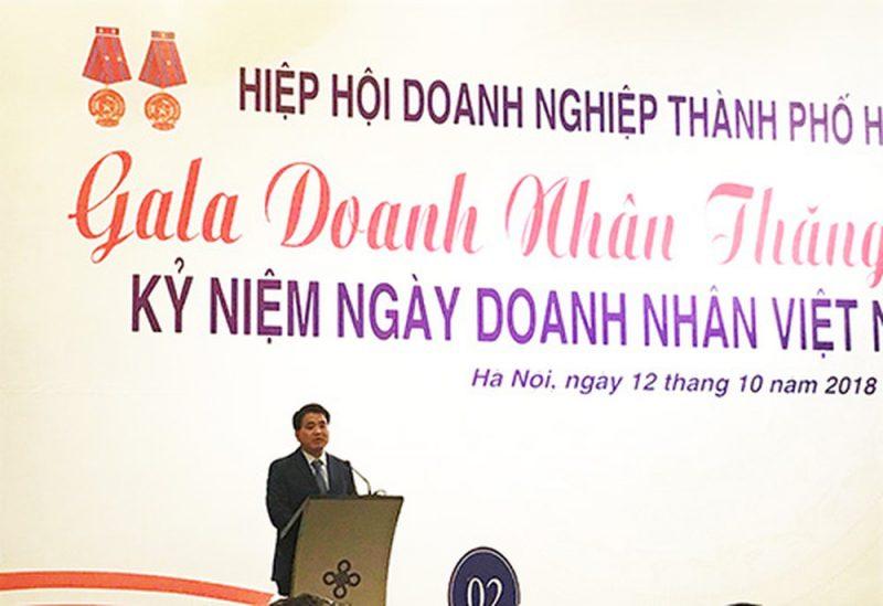 Chủ tịch TP Hà Nội Nguyễn Đức Chung phát biểu trong Gala Doanh nhân Thăng Long 2018