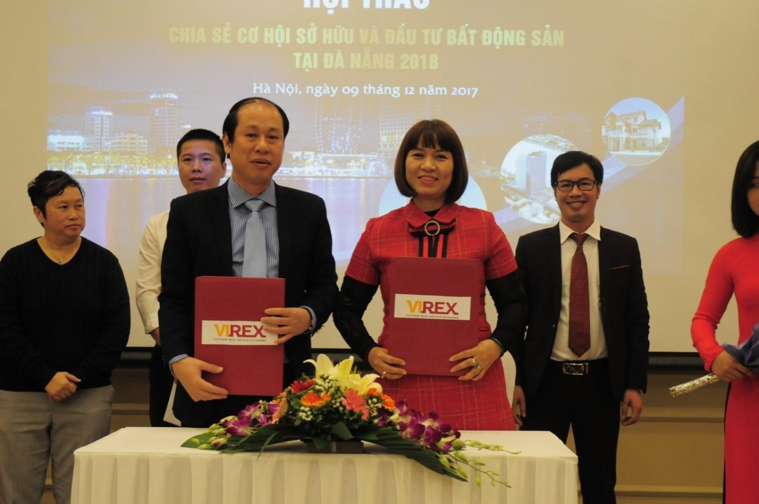 Ký kết thỏa thuận hợp tác giữa bà Lê Thị Lan Anh, Tổng Giám đốc Công ty Virex và ông Nguyễn Minh Tuấn, Phó Chủ tịch CLB Bất động sản Hà Nội/ Hiệp hội BĐS Việt Nam, Chủ tịch HĐQT Vietbuilding.
