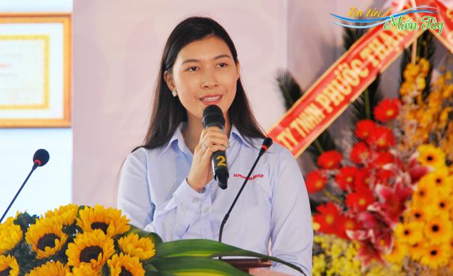 Uỷ viên Hội đồng quản trị Tập đoàn Alphanam Nguyễn Ngọc Mỹ phát biểu tại lễ công bố dự án